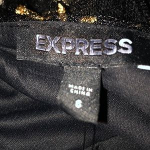 Express Dresses - Express black tulle dress with gold embroidery